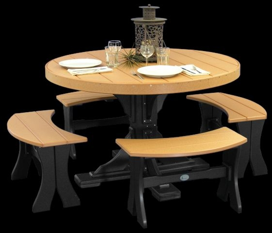 Attirant 4\u0027 Round Table Set With Benches